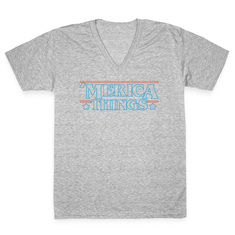 'Merica Things Parody White Print V-Neck Tee Shirt