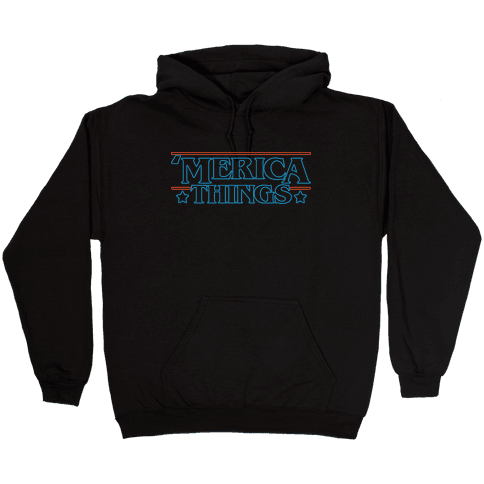 'Merica Things Parody White Print Hooded Sweatshirt
