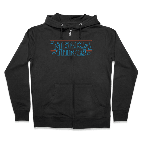 'Merica Things Parody White Print Zip Hoodie