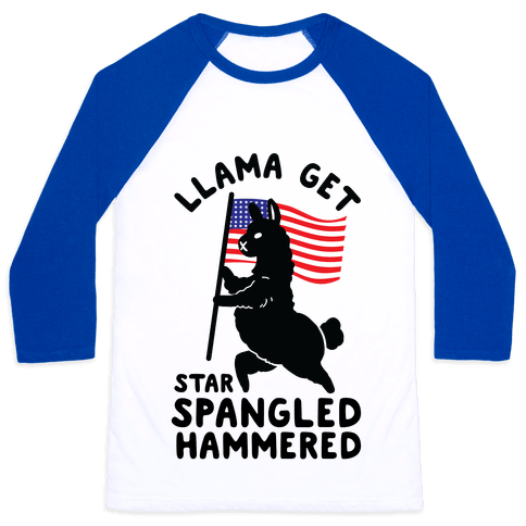 Llama Get Star Spangled Hammered Baseball Tee