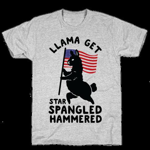 Llama Get Star Spangled Hammered Mens/Unisex T-Shirt