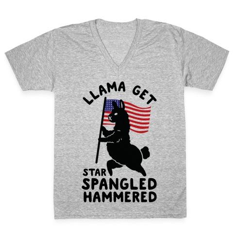 Llama Get Star Spangled Hammered V-Neck Tee Shirt