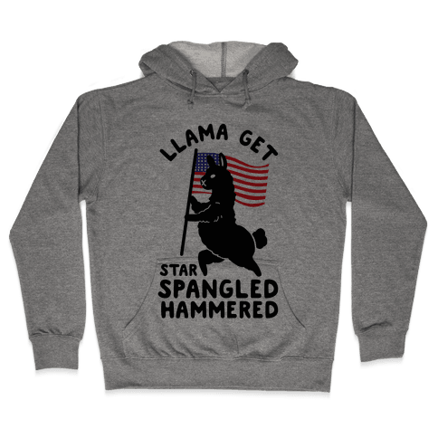 Llama Get Star Spangled Hammered Hooded Sweatshirt