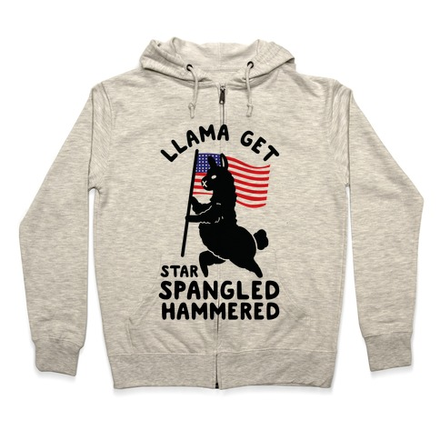 Llama Get Star Spangled Hammered Zip Hoodie