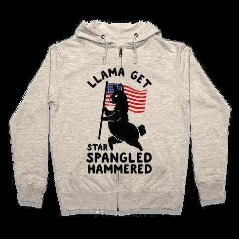 Llama Get Star Spangled Hammered Zip Hoodie