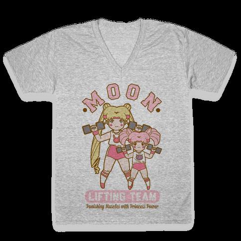 Moon Lifting Team Parody V-Neck Tee Shirt