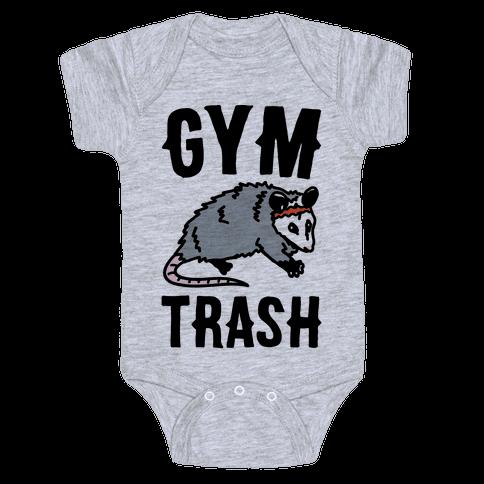 Gym Trash Opossum  Baby Onesy
