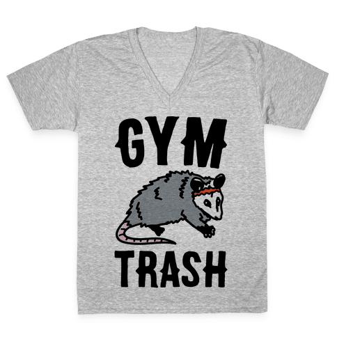 Gym Trash Opossum V-Neck Tee Shirt
