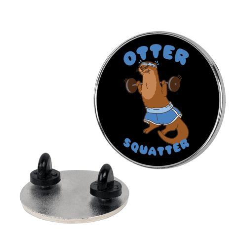 Otter Squatter White Print Pin