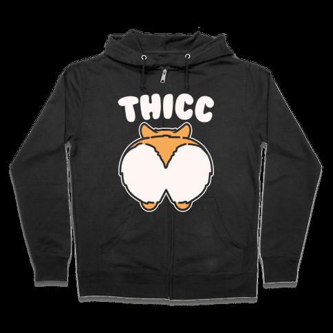 Thicc Corgi Butt Parody White Print Zip Hoodie