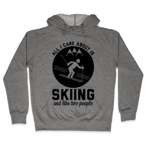 Skiing and Like Two People Hooded Sweatshirt