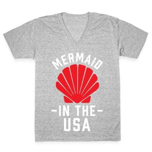 Mermaid In The USA V-Neck Tee Shirt
