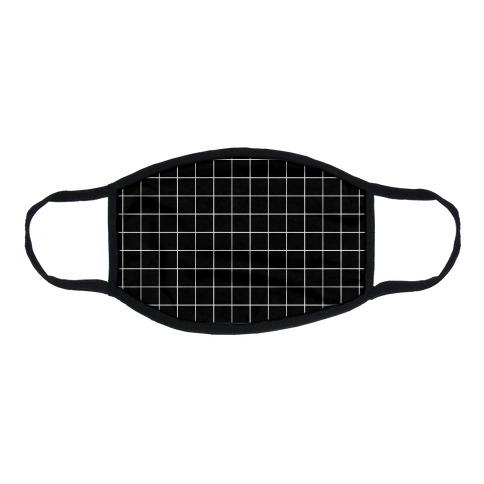 Black and White White Line Grid Design Flat Face Mask