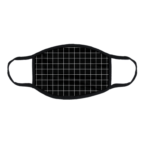 Black and White White Line Grid Design Flat Face Mask