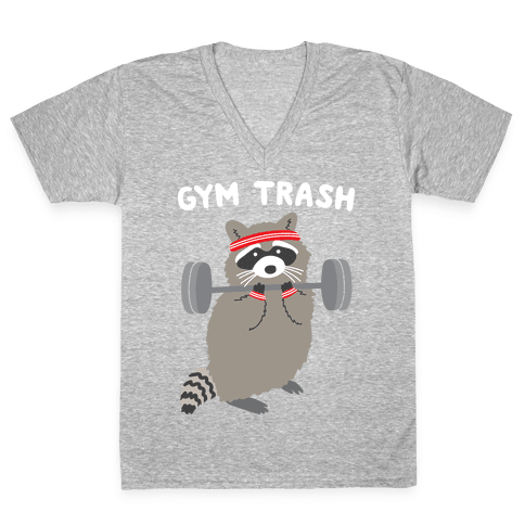 Gym Trash Raccoon V-Neck Tee Shirt