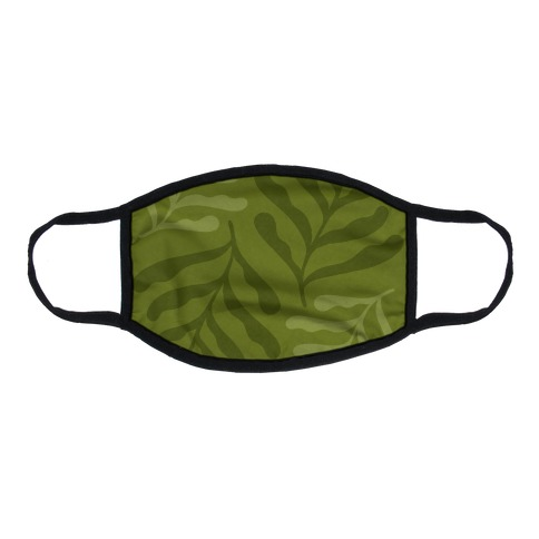 Army Green Leaves Flat Face Mask