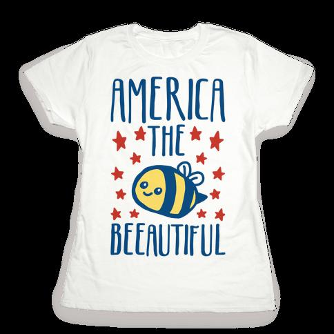 America The Beeautiful Bumble Bee 'Merica Parody Womens T-Shirt