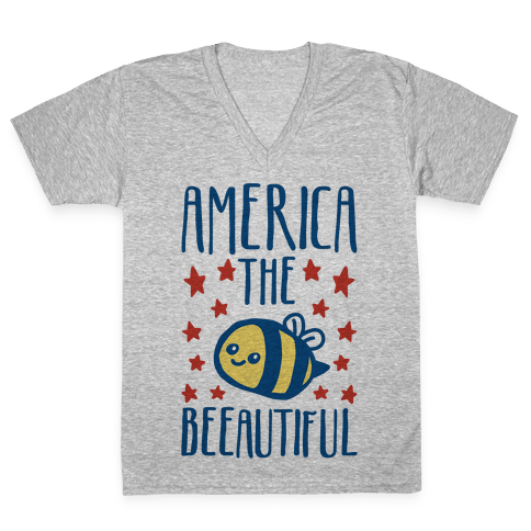 America The Beeautiful Bumble Bee 'Merica Parody V-Neck Tee Shirt
