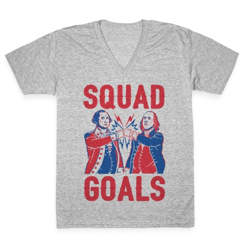 Squad Goals George Washington & Benjamin Franklin (cmyk) V-Neck Tee Shirt