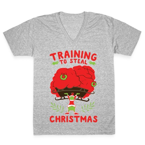 Training to Steal Christmas V-Neck Tee Shirt