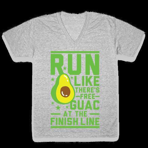Run Like There's Free Guac V-Neck Tee Shirt