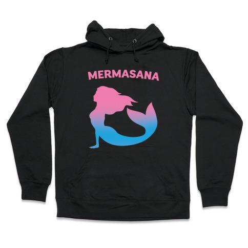 Mermasana Parody White Print Hooded Sweatshirt
