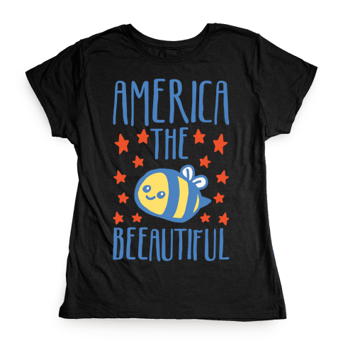 America The Beeautiful Bumble Bee 'Merica Parody White Print Womens T-Shirt