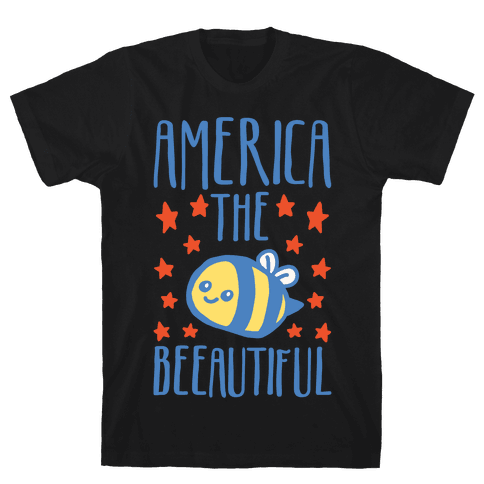 America The Beeautiful Bumble Bee 'Merica Parody White Print Mens/Unisex T-Shirt