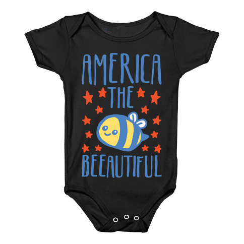 America The Beeautiful Bumble Bee 'Merica Parody White Print Baby Onesy