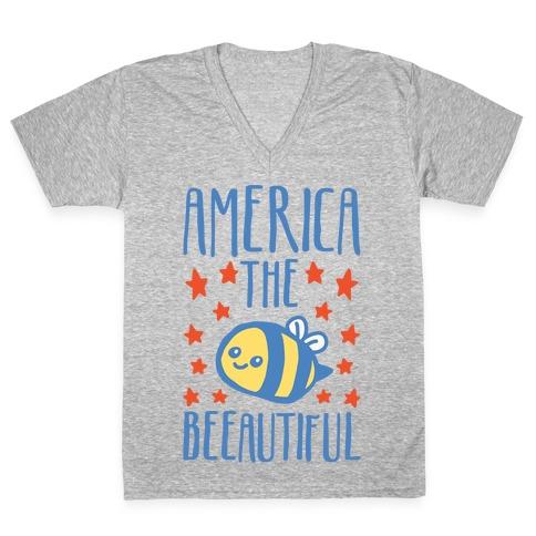 America The Beeautiful Bumble Bee 'Merica Parody White Print V-Neck Tee Shirt