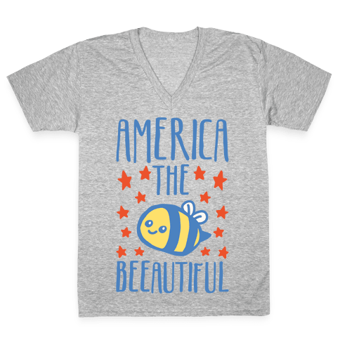 America The Beeautiful Bumble Bee 'Merica Parody White Print V-Neck Tee Shirt