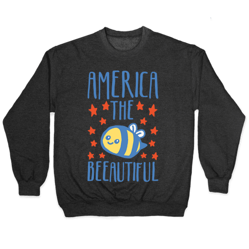America The Beeautiful Bumble Bee 'Merica Parody White Print Pullover