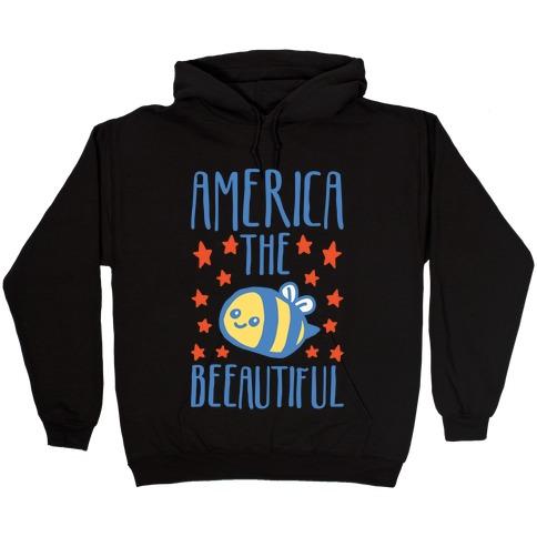America The Beeautiful Bumble Bee 'Merica Parody White Print Hooded Sweatshirt
