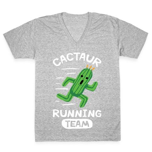 Cactaur Running Team V-Neck Tee Shirt