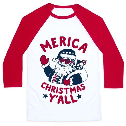 Merica Christmas Y'all Baseball Tee