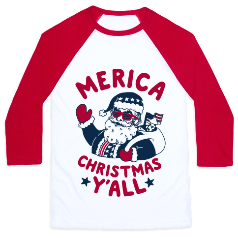 Merica Christmas Y'all Baseball Tee