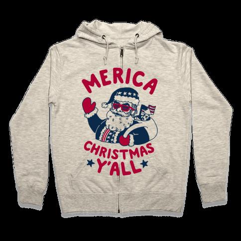 Merica Christmas Y'all Zip Hoodie