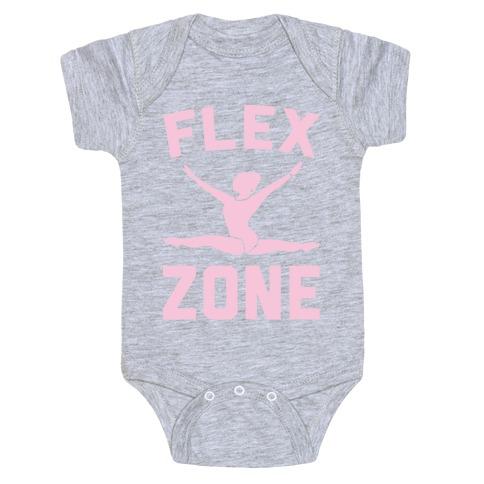 Flex Zone Gymnastics White Print Baby Onesy