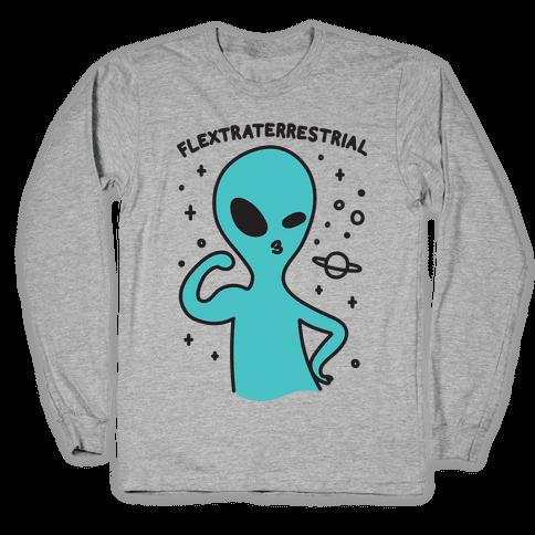 Flextraterrestrial Flexing Alien Long Sleeve T-Shirt