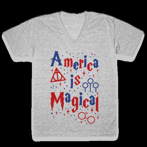America Is Magical V-Neck Tee Shirt