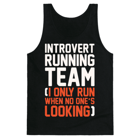 Introvert Running Team White Print Tank Top