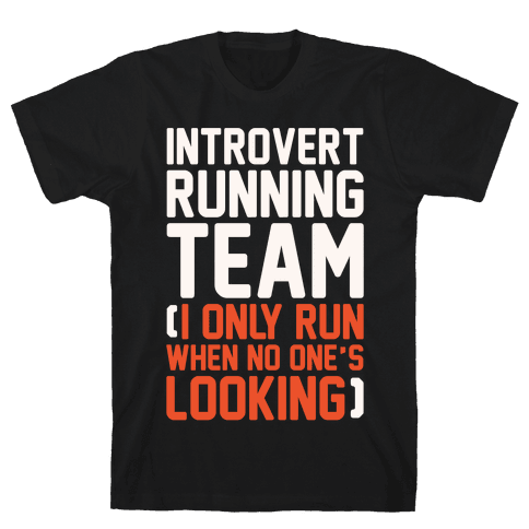 Introvert Running Team White Print Mens/Unisex T-Shirt