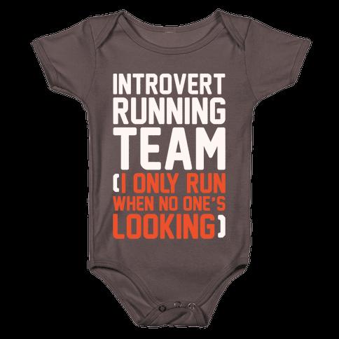 Introvert Running Team White Print Baby One-Piece