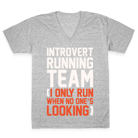 Introvert Running Team White Print V-Neck Tee Shirt