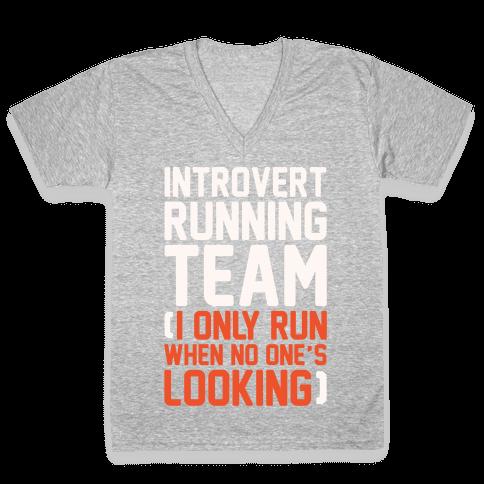 Introvert Running Team White Print V-Neck Tee Shirt