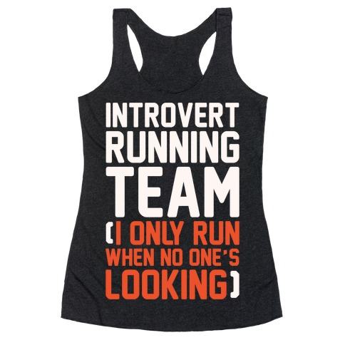 Introvert Running Team White Print Racerback Tank Top