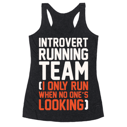 Introvert Running Team White Print Racerback Tank Top
