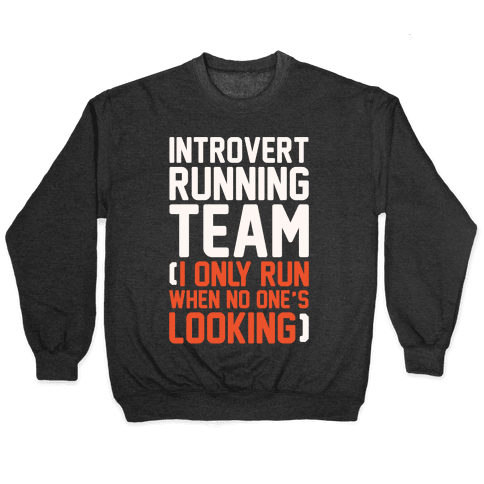 Introvert Running Team White Print Pullover