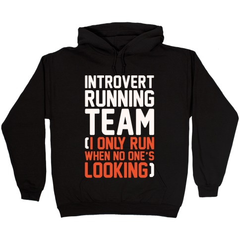 Introvert Running Team White Print Hooded Sweatshirt
