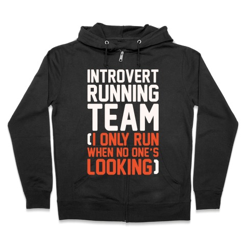 Introvert Running Team White Print Zip Hoodie